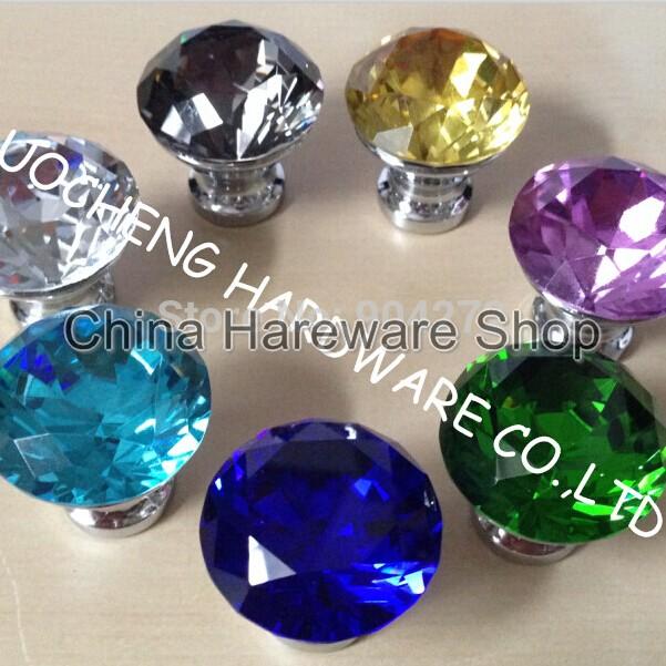 10PCS LOT 30mm Colored Diamond Crystal Kitchen Cabinet Knobs Handles  Dresser Cupboard Door Knob Pulls