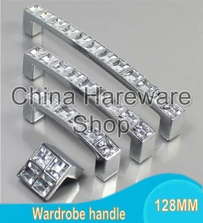 128MM Crystal Set Diamond Furniture Hardware Handles Door Knob