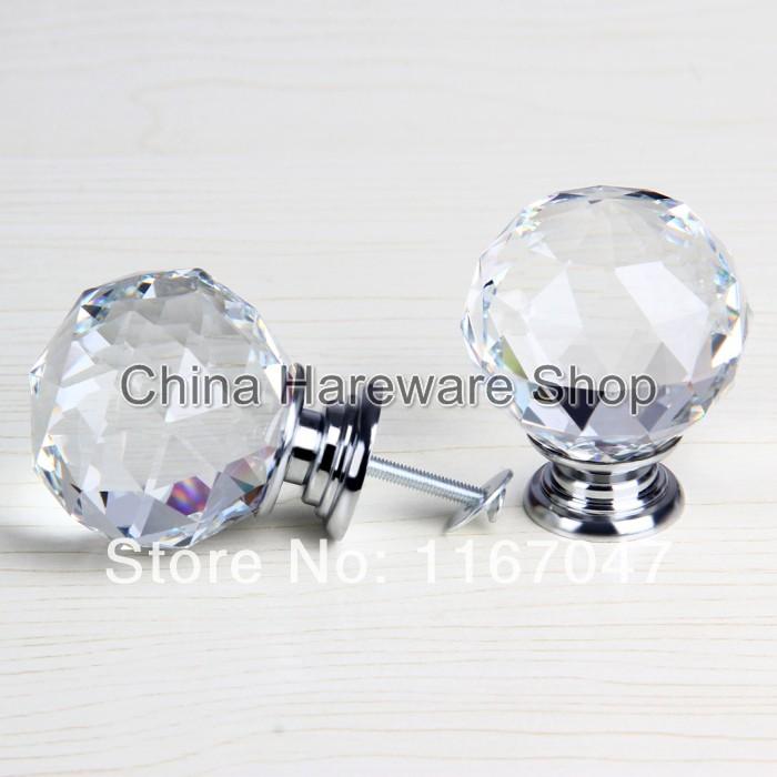 1pcs clear glass crystal door knobs 50mm diameter cabinet pulls