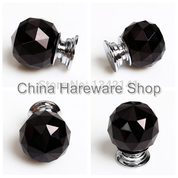 5 X LS A010 30MM Black Crystal Glass Door Knob Furniture Cabinet ...