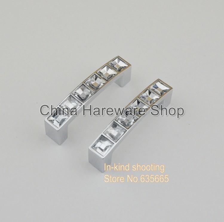 64MM Crystal Glass Diamond Furniture Hardware Handles Door Knob Drawer  Wardrobe Kitchen Cabinets Cupboard Pull Door