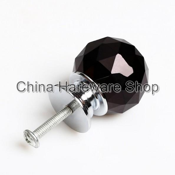 8Pcs 30MM Black Crystal Glass Door Knob and Screw Furniture Hardware ...