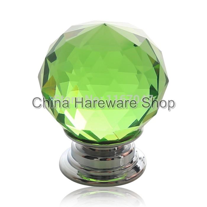 5PCS Green Glass Crystal Door Knobs 40mm Diameter Cabinet Pulls ...