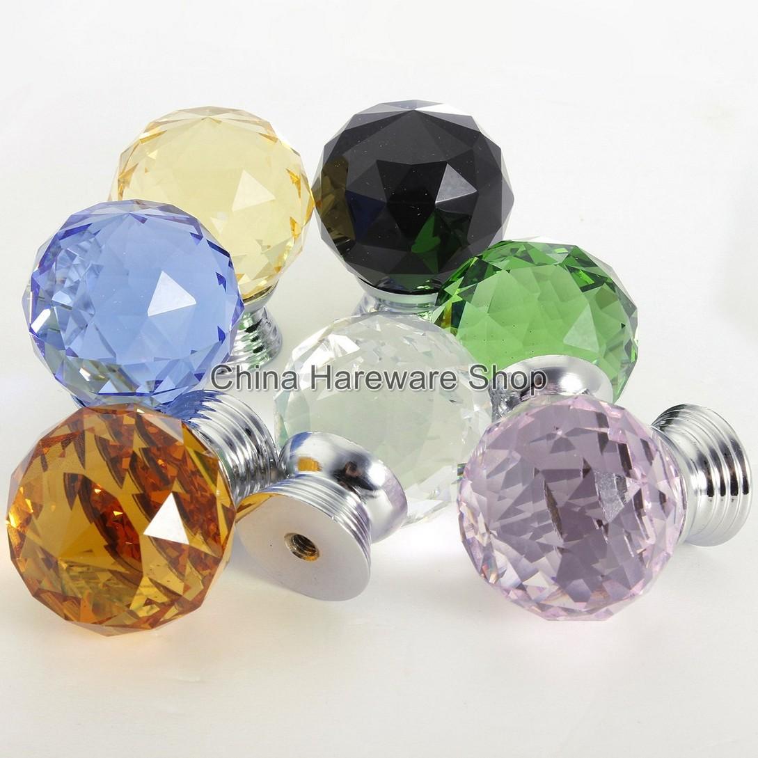 Colored glass door knobs - Multiple Colored Crystal Door Knob Drawer Knobs Dresser Door Handle Home Improvement