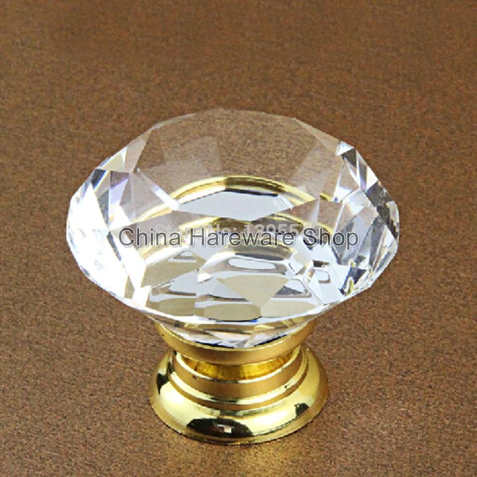 New 40mm Crystal Cabinet Drawer Knobs Diamond Shape Wardrobe Closet Handles  Kitchen Cabinet Glass Knobs Shoesbox