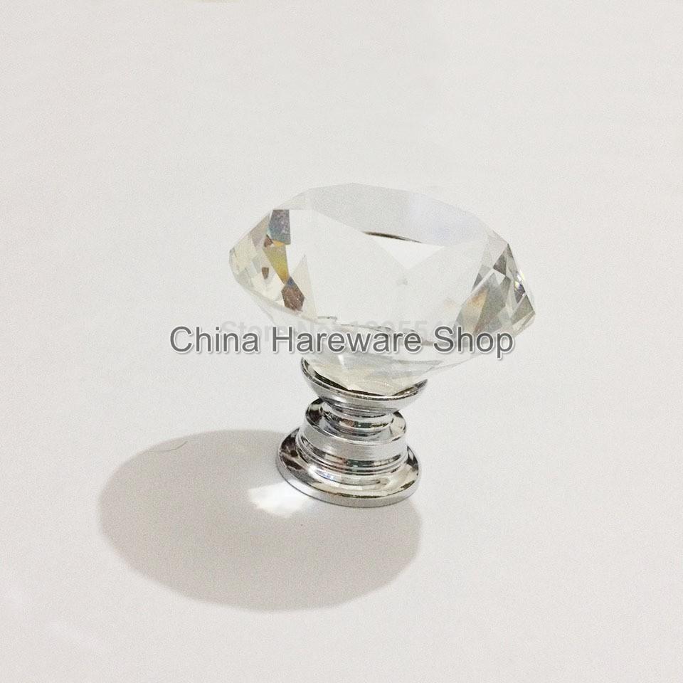 New 5pcs 30mm K9 Crystal Cabinet Drawer Knobs Diamond Shape Cabinet Handles  Furniture Hardware Knobs Wardrobe